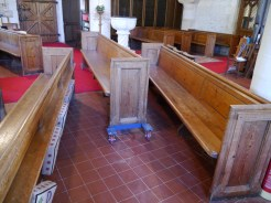 St Mary the Virgin, Chalgrove - a pew being moved using the especially designed trolley (© Robert Heath-Whyte)